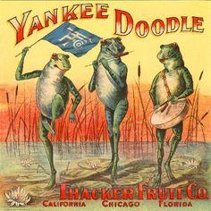 California Florida Chicago Yankee Doodle Frog Frogs Orange Citrus Fruit Crate Box Label Art Print. $9.99, via Etsy.