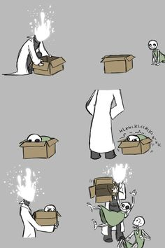 This is what you get for having so many cardboard boxes lying around, Gaster. Index Gaster, Sans, Papyrus (c) Undertale: just gonna dump you on your bro. The safest he'll ever feel Undertale Gaster, Undertale Comic Funny, Undertale Pictures, Undertale Memes, Undertale Drawings, Undertale Cute, Undertale Fanart, Gaster Sans, Frisk