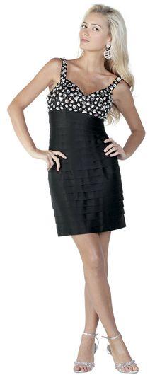 Jeweled Bodice Black Pleated High Waist Cocktail Dress (XS-XL)