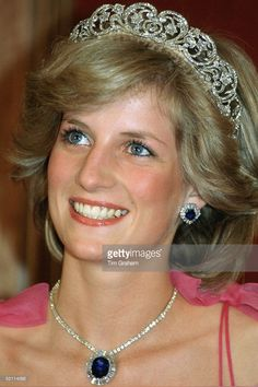 Diana, Princess Of Wales, Attending A Reception At The Crest International Hotel During Her Official Tour Of Australia. The Princess Is Wearing The Spencer Diamond Tiara With The Saudi Arabia Sapphire And Diamond Necklace And Matching Earrings.