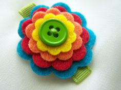 hair clip - felt flowers stacked with button