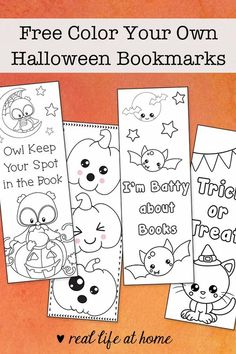 Free Color Your Own Halloween Bookmarks for Kids from Real Life at Home #HalloweenBookmarks #HalloweenActivity #HalloweenCraft