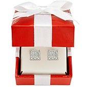 Diamond Earrings, 14k White Gold Diamond Square Cluster Stud Earrings (3/8 ct. t.w.).Really cute!!! <3