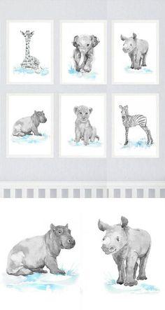 Neutral Nursery Decor Safari Art Set of 6 Prints Baby by ValrArt