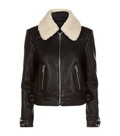 Bakard Removable Real Lamb Shearling Collar Leather Jacket, Black