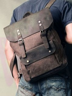 Vintage Casual Canvas & Leather Travel Student Backpack #canvasbackpack #letherbackpack