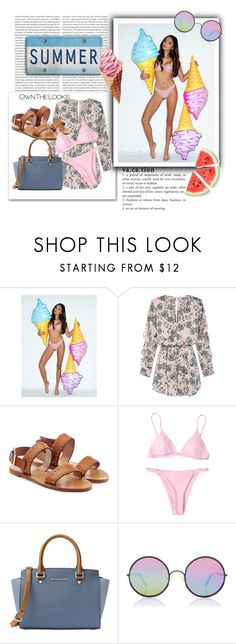 """""""summertime"""" by kristennevanss on Polyvore featuring Oris, RED Valentino, MICHAEL Michael Kors and Sunday Somewhere"""