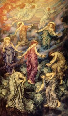 """Evelyn Pickering De Morgan (English Pre-Raphaelite painter) 1855 - 1919 The Kingdom of Heaven Suffereth Violence and the Violent Take it by Force, 1878 oil on canvas 54.75 x 31.75 in. signature, painted, lower right: """"EP 1878"""" The De Morgan Centre, London, United Kingdom  This painting takes its title from the Gospel of St Matthew 11:12 and is an allegory of the journey of the soul from its earth-bound body, to the spirit world of the spheres.   Merci à Christa Zaat"""