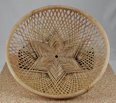 Vintage Wicker Shallow Basket In Star of David by MochasCorner, $16.00