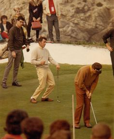Dean Martin, misses the hole.