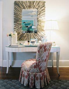 pink wallpaper - driftwood mirror