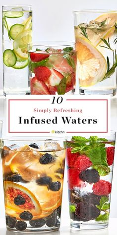 infused water recipes 10 Simple Infused Waters That Will Help You Hydrate Summer Drink Recipes, Summer Drinks, Fruit Infused Water, Infused Waters, Flavored Waters, Water With Fruit, Healthy Eating Tips, Healthy Drinks, Healthy Water