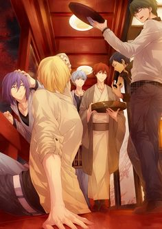 This is... Intensely good art! :D ...too bad I can't see my Kise-kun's face! T^T And it looks like Murasakibara and Kise got hit by Midorima, too! >_
