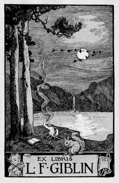 Ex Libris with a moon for W.F. Giblin by Albertine Randall Wheelan, 1923. At Los Angeles Public Library, Visual Collection ...
