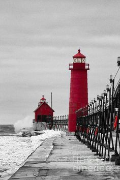Michigan Photograph - Grand Haven Lighthouse by Todd Bielby Photo Background Images, Photo Backgrounds, Black And White Colour, Black And White Pictures, Color Splash, Color Pop, Lighthouse Pictures, Lighthouse Art, Michigan