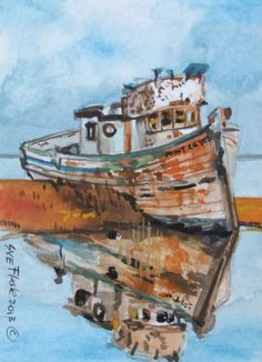ACEO 2013 Original Painting Gouache Artwork - Fishing Boat Wreck by Sue Flask