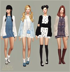 SIMS4 marigold: Spring Dress With Cardigan_short version_봄 원피스와 가디건_짧은 버전_여자 의상