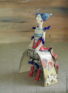 Купить Керамическая кукла Анет - ярко-красный, кукла ручной работы, Керамика, авторская керамика