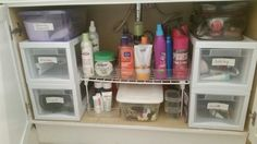 Organization for a small bathroom on a budget. Hide all the clutter! Each family member has their own drawer, which includes their own toothbrush, toothpaste, floss, deodorant, hair brushes and combs, etc...