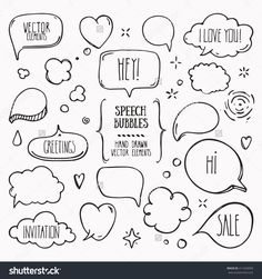 Collection Of Hand Drawn Think And Talk Speech Bubbles With Love Message, Greetings And Sale Ad. Doodle Style Comic Balloon, Cloud, Heart Shaped Design Elements. Isolated Vector. - 411420058 : Shutterstock