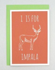 Impala Illustration. Animal alphabet greeting card from Darwin Designs