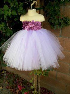 Betti Pettiskirts Hydrangea Flower Lavender/White tutu dress and embellished with pearls - Flower girl Dress - Matching Headband. $70.00, via Etsy.