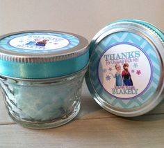 Frozen Birthday Party Favors Cotton Candy Mason Jar Party Favors (12) with Tag on Etsy, $40.00