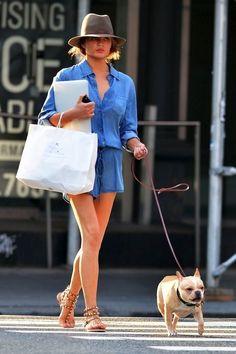 Shop this look on Lookastic:  https://lookastic.com/women/looks/blue-denim-playsuit-brown-leather-gladiator-sandals-grey-wool-hat/11142  — Grey Wool Hat  — Brown Leather Gladiator Sandals  — Blue Denim Playsuit
