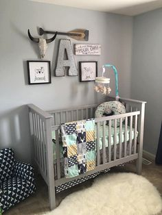 Woodlands Crib Bedding Navy Deer Grey Arrow By GiggleSixBaby
