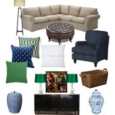 NEW BLOG POST! Allbritton or Nothing: Maybe this time (living room board, linen couch with navy and emerald green accent colors)