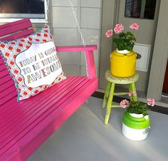 It is good to have my front porch painted and ready for some good porch sitting *big smile* #frontporchideas #pink #vintagecoolers