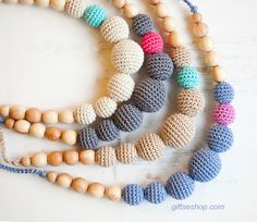 DIY :How to Make Crocheted Beads and Crocheted Beads Necklace Free Pattern