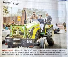 Dec 2017:  Today's 'The Hindu' front page and reading it at Coimbatore, TN. Well that's how farmers should travel even if they have little bit changed the profession. Gesture 👍. @Dchautala @MLA_Matoria @jayantrld
