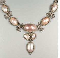 A mid 18th century coques de perle and marquiste pendant necklace, circa 1740.