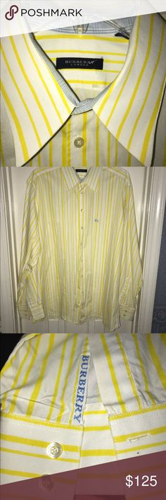 💰REDUCED💰EUC 💙BURBERRY💙Long Sleeve Dress Shirt 💰REDUCED💰EUC- 💙BURBERRY💙Classic Neckline Long Sleeves. Button Cuffs. Front Closure. No Pockets. * VIBRANT * Yellow and White Stripes Dress Shirt. 100 % Cotton Plain Weave. Prices range from $279 -$379 NEW.  Originally asking $125   today $100 Burberry Shirts Dress Shirts