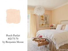 """This color for a bathroom or laundry room would be awesome I think. """"Jennifer Lopez's Bedroom is Serene and Glamorous thanks to PEACH PARFAIT by Benjamin Moore- VERANDA"""" Peach Paint Colors, Best Bedroom Paint Colors, Wall Colors, Peach Bedroom, Peach Bedding, Bedding Sets, Coral Bedroom, Bedroom Wall, Bedroom Decor"""