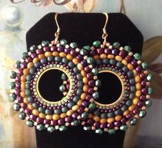 Seed Bead Earrings Winter Berries Multicolored Bohemian Hoop Earrings Beaded Beadwork Jewelry by WorkofHeart on Etsy