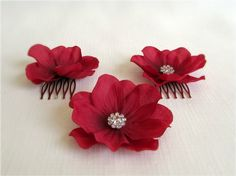 Scarlet Anemone Hair Accessories - Cranberry red, silk anemone hair flowers with rhinwstone crystal centers.