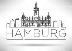Illustration of Minimal Hamburg City Linear Skyline with Typographic Design vector art, clipart and stock vectors. Typographic Design, Typography, City Outline, Hamburg City, Bullet Journal Travel, City Sketch, City Drawing, Skyline, Travel Illustration