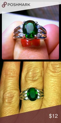 Oval cut Emerald CZ Ring, size 6 Size 6 Jewelry Rings