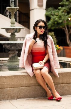Master the effortlessly chic look in a dusty pink coat and a red ombre bodycon dress. Round off this look with red leather pumps.   Shop this look on Lookastic: https://lookastic.com/women/looks/coat-bodycon-dress-pumps/23644   — Red Ombre Bodycon Dress  — Pink Coat  — Black Sunglasses  — Gold Watch  — Gold Clutch  — Red Leather Pumps