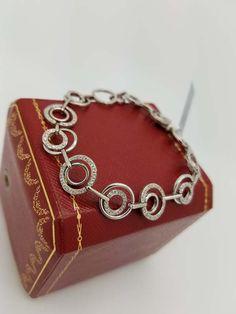 14k White Gold 1.50ct Diamond Cicle Chain Bracelet