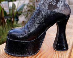 Monster High Black Crinkle Patent Platform Heels