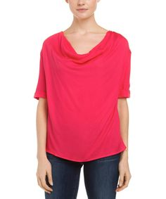 ELLA MOSS ELLA MOSS STELLA HOT PINK COWL NECK GROSGRAIN TRIM TOP'. #ellamoss #cloth #sweaters
