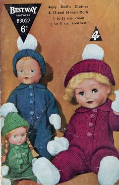 Bestway 3037    pram suit for 8, 12 and 16 size doll    vintage knitting pattern    4 ply wool