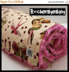 WINTER SALE Punk baby girls or toddler blanket Pale Pink tattoo print Alexander Henry  natural Sparrow Skulls heart butterfly with HOT Pink by RockerByeBaby on Etsy https://www.etsy.com/listing/48699442/winter-sale-punk-baby-girls-or-toddler