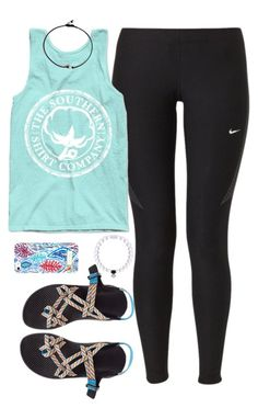 """""""southern shirt co. tank"""" by tabooty ❤ liked on Polyvore featuring NIKE, Chaco and Lilly Pulitzer"""