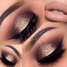 Smoky gold eye makeup with nude lips #makeup...x