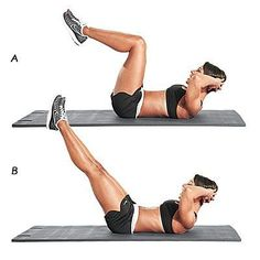 Low-belly leg reach: Targets corset and six-pack. Lie faceup with knees bent to 90 degrees, hands behind head, and abs contracted. Keeping knees stacked over hips, lift shoulders and crunch up; inhale and hold for 3-5 seconds. Exhale and extend legs to 45 degrees; hold for 3-5 seconds while squeezing lower belly. Do 2 sets of 10-15 reps | Health.com