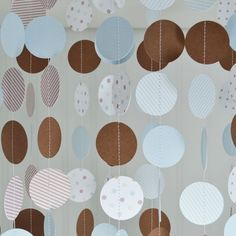Paper Circle Garland  Brown and Blue  Baby by sweetpeapaperthings, $50.00